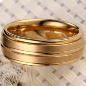 Gold  Stainless Steel wide Ring Band 8mm S-7